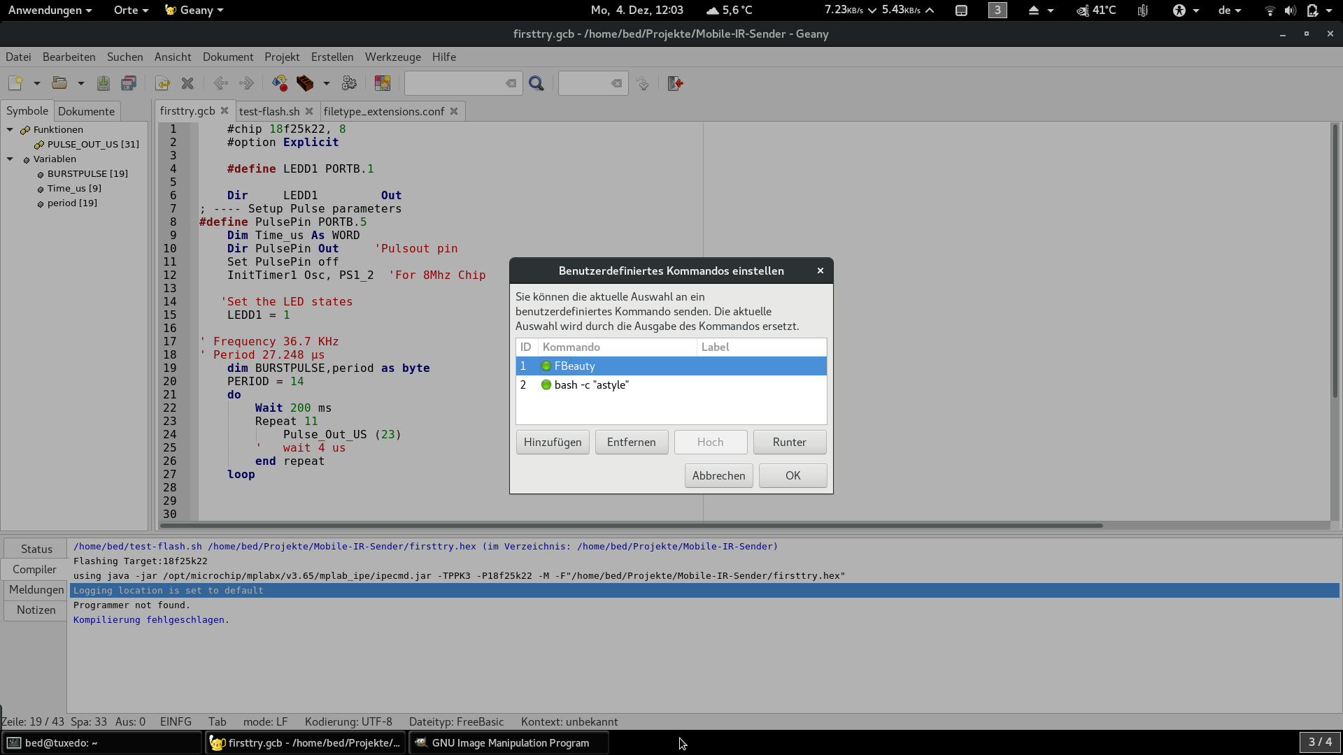 Geany as IDE for Linux - Great Cow BASIC